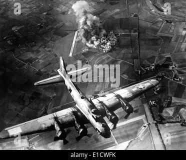 B-17 Bomber during the first big raid on Germany by the U.S. 8th Air Force. The raid destroyed most of the Marienburg - Stock Photo
