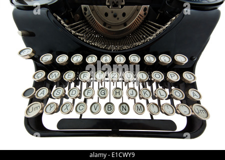 An old typewriter. Photographed on a white background. - Stock Photo