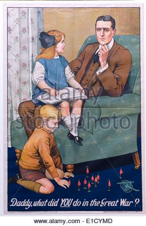 World War One recruitment and propaganda poster (original) - Stock Photo