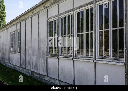 Rekonstruierte Baracken, KZ-Gedenkstätte Dachau, in der Nähe von München - Stock Photo