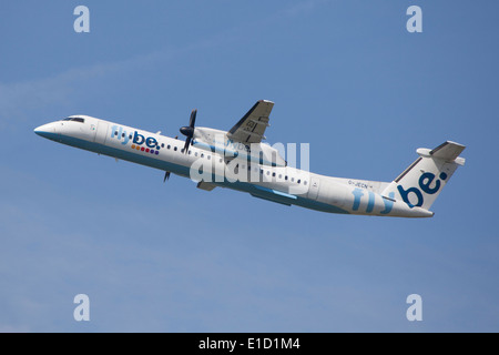 Flybe Bombardier Dash 8 Q400 Q-Series taking off - Stock Photo