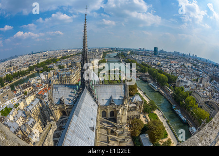 Fish-eye view of Paris from Notre-dame in a sunny summer day - Stock Photo