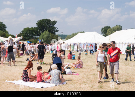 Tewkesbury Medieval Festival, Gloucester UK July 2013: lots of people enjoying lunch shopping in the market - Stock Photo