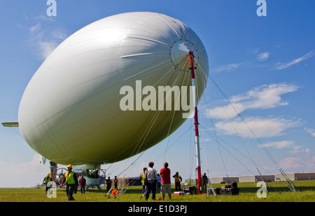 A U.S. Navy MZ-3A manned airship, Advanced Airship Flying Laboratory, derived from the commercial A-170 series blimp, - Stock Photo