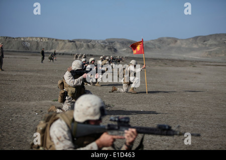 U.S. Marines with Special Purpose Marine Air-Ground Task Force 24 conduct a beach assault with Peruvian marines - Stock Photo