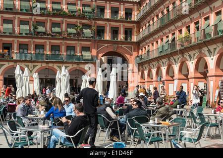 Open air Cafes and bars in the Plaza de la Corredera, Cordoba, Spain. - Stock Photo