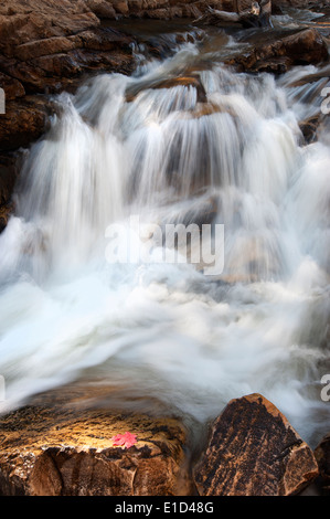 Upper Provo River Falls and water cascading over rocks, in the Uinta Mountains in Utah. - Stock Photo