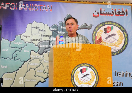 U.S. Army Gen. David H. Petraeus, the commander of the International Security Assistance Force, speaks to U.S. and - Stock Photo