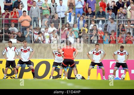 Duesseldorf, Germany. 31st May, 2014. Germany's Mesut Ozil (L-R), Per Mertesacker, Bastian Schweinsteiger, Jerome - Stock Photo