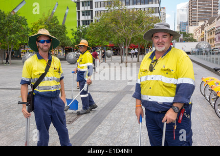 Brisbane Australia Queensland Central Business District CBD Brisbane Square city workers man coworkers street cleaners - Stock Photo