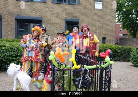 31st May 2014 : clowns celebrate 177 years since the death of Joseph Grimaldi (1778-1837) at his grave in Joseph - Stock Photo