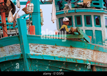 Fishing village in Sihanoukville Port,Sihanouk Province,Cambodia,Asia - Stock Photo