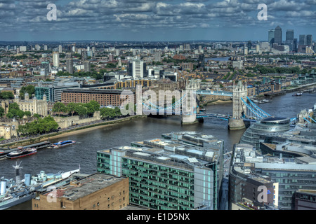 HDR image of Tower Bridge and the River Thames from the 35th floor of The Shard. - Stock Photo
