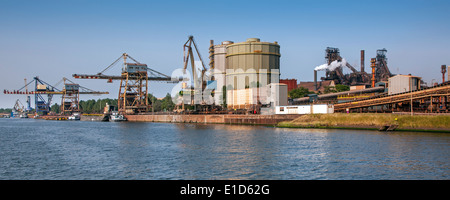 Steelworks of ArcelorMittal, world's largest steel producer, port of Ghent, East Flanders, Belgium - Stock Photo