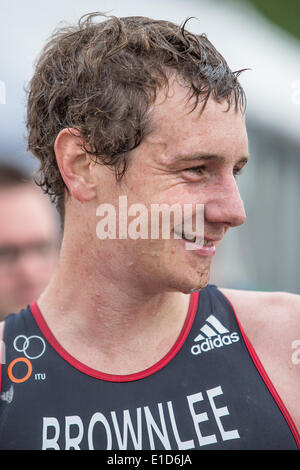 London, UK. 31st May, 2014. Alistair Brownlee (GBR) at the end of the ITU World Triatlon in London. Credit:  Action - Stock Photo
