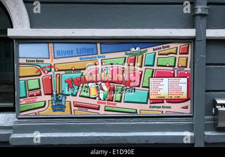Street Map of Temple Bar in Dublin - Stock Photo