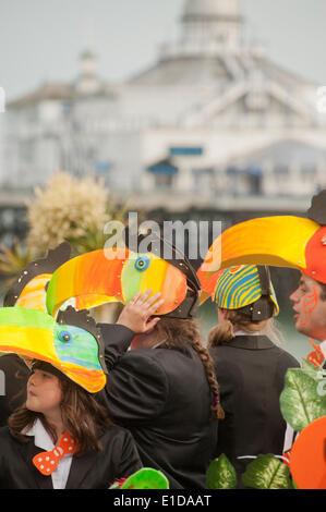 Eastbourne, Sussex, UK. 31st May, 2014. Members of the Eastbourne Carnival dressed in costumes pass the Eastbourne - Stock Photo
