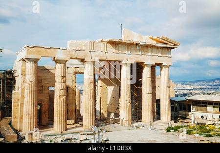 Propylaea facade at Acropolis in Athens, Greece - Stock Photo