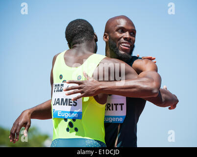 Eugene, OR, USA. 31st May, 2014. Kirani James ((left) of Grenada ran a 43.97 dead heat with Lashawn Merritt (right) - Stock Photo