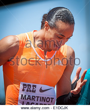 Eugene, OR, USA. 31st May, 2014. Pascal Martinot-Lagarde of France celebrates his 13.13 win of the Prefontaine Classic - Stock Photo