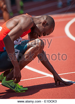 Eugene, OR, USA. 31st May, 2014. Nijel Amos of Botswana wins the Men's 800m at the 2014 Prefontaine Classic with - Stock Photo