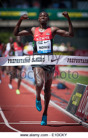 Eugene, OR, USA. 31st May, 2014. Caleb Mwangangi Ndiku of Kenya won the Prefontaine Classic Men's 5000m with a time - Stock Photo