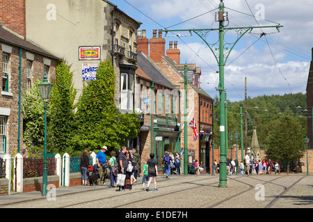Tramlines in the high street of the Edwardian town that forms part of Beamish Museum in County Durham, England. - Stock Photo