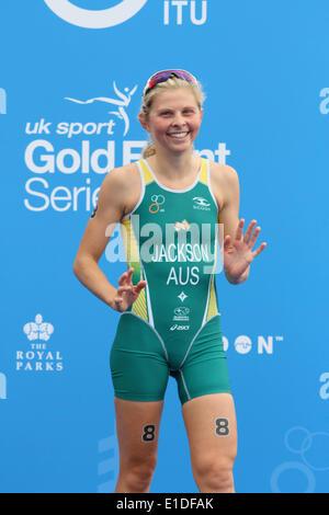 London, UK. 31st May, 2014. Emma Jackson of Australia second at women elite ITU Triathlon held in London. Credit: - Stock Photo