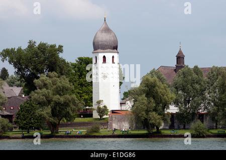 The Benedictine Abby of Frauenworth, Fraueninsel island, Chiemsee, Bavaria, Germany. - Stock Photo