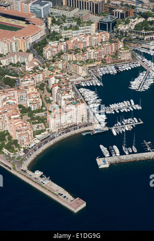 FONTVIEILLE DISTRICT; A MODERN RESIDENTIAL AREA BUILT ON RECLAIMED LAND (aerial view). Principality of Monaco. - Stock Photo