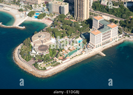 MONTE-CARLO BAY HOTEL AND RESORT (built on reclaimed land) (aerial view). Larvotto, Principality of Monaco. - Stock Photo