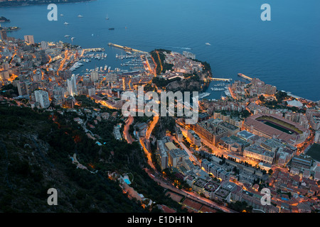 TWILIGHT OVER THE PRINCIPALITY OF MONACO Elevated view from an altitude of 550m above the Mediterranean Sea in La - Stock Photo