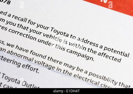 UK  31 May 2014 - Toyota issues the recall of 5,409 Yaris cars due