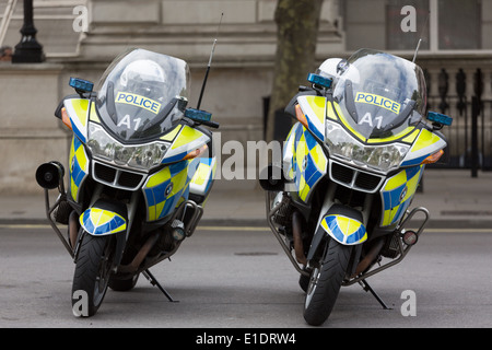 Two Metropolitan Police motorbikes on stands in London - Stock Photo