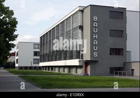 The refurbished Bauhaus, in Dessau Germany, one of the great defining buildings of the early Modern Movement in - Stock Photo