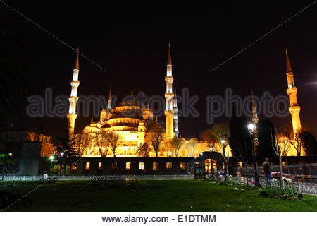 The Sultan Ahmed Mosque (AKA Blue Mosque) during the night. Istanbul, Turkey. - Stock Photo