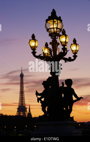 France, Paris, Alexandre III bridge and Eiffel Tower at night - Stock Photo