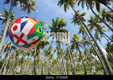 International flag football soccer ball flying in bright Brazilian blue sky above grove of palm trees - Stock Photo