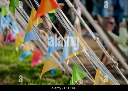 Hay on Wye. 31st May, 2014. Pictured: Bunting at the Hay Festival Re: Hay Festival, Hay on Wye, Powys, Wales Credit: - Stock Photo