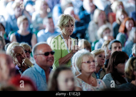 Hay on Wye, UK. 1st June, 2014. Pictured: The cord watches as John Bishop Takes the stage at Hay Re: Hay Festival, - Stock Photo