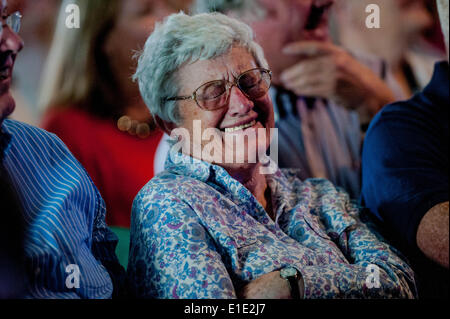 Hay on Wye, UK. 1st June, 2014. Pictured: The crowd watches as John Bishop Takes the stage at Hay Re: Hay Festival, - Stock Photo