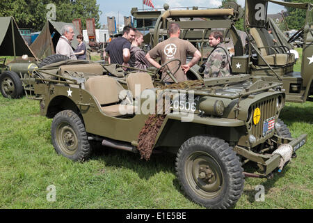 Part of the D-Day 70th Anniversary events, re-enactors and vehicle displays in Sainte-Mère-Église, Lower Normandy, - Stock Photo