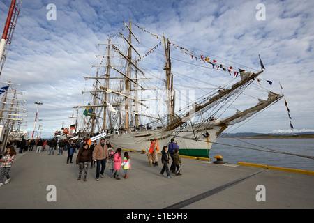 latin american navy sail training ships moored in Ushuaia Argentina part of velas latinoamerican 2014 - Stock Photo