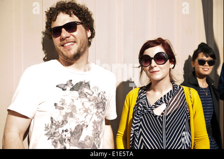 Young hipsters / millennials wearing sunglasses in Asheville, North Carolina - Stock Photo