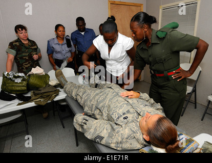 U.S. Navy Chief Hospital Corpsman Tracie Ham, with Maritime Civil Affairs and Security Training, observes as members - Stock Photo