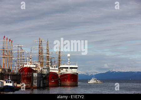 factory fishing trawlers moored in Ushuaia port Argentina - Stock Photo