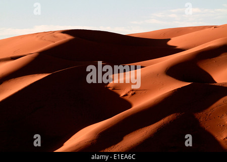 Erg Chebbi sand dunes in the Sahara desert near Merzouga, Morocco - Stock Photo