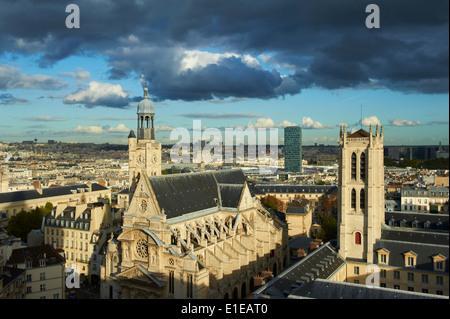 France, Paris, Quartier Latin, Clovis Tower of Henri 4 school and Saint Etienne du Mont Church - Stock Photo