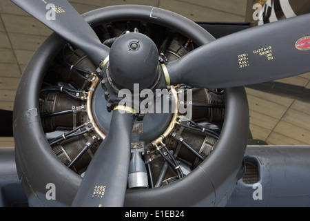 A Rotary Piston Propeller Engine on a b-17 Flying Fortress - Stock Photo