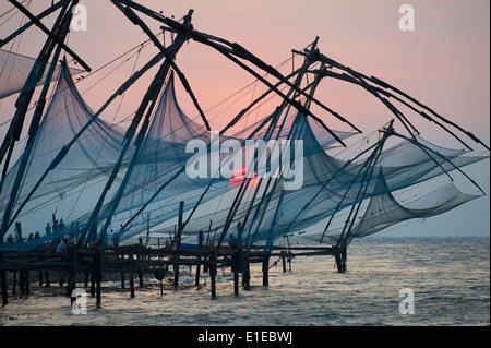 India, Kerala State, Fort cochin or Kochi, Chinese fishing nets - Stock Photo